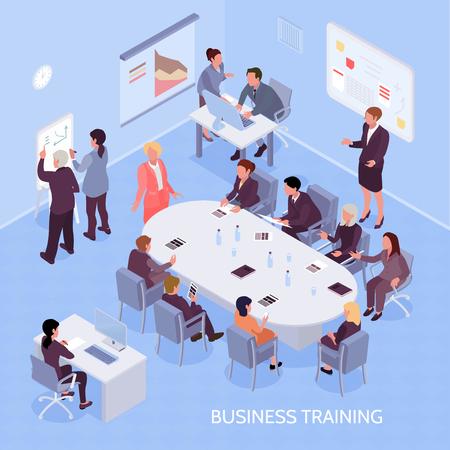 Expertos en negocios y empleados durante la capacitación corporativa, elementos interiores de la oficina en la ilustración de vector isométrica de fondo azul