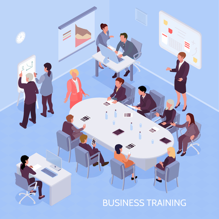 Geschäftsexperten und Angestellte während des Unternehmenstrainings, Büroinnenelemente auf isometrischer Vektorillustration des blauen Hintergrundes