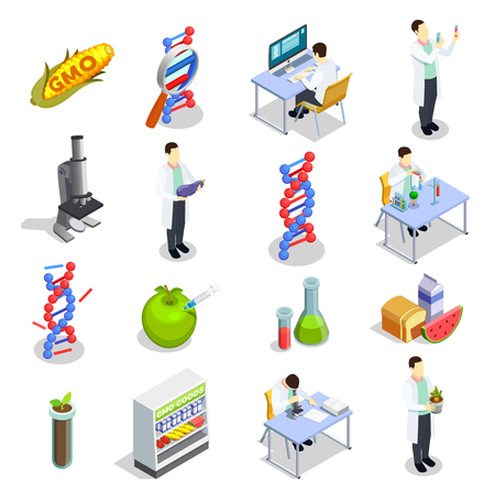 Genetically modified organisms set of isometric icons with dna research, gmo goods, scientific laboratory isolated vector illustration