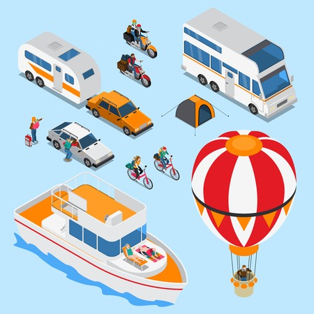 Traveling people on various vehicles including balloon, mobile home, isometric set on blue background isolated vector illustration Illustration