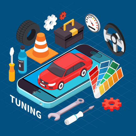 Auto service and tuning isometric concept with spare parts symbols vector illustration