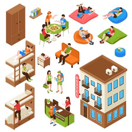Iconos isométricos de albergue con edificio exterior, litera, mostrador de recepción, turistas durante la ilustración de vector aislado de comer