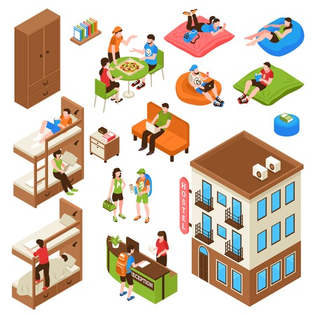 Hostel isometric icons set with building outside, bunk bed, reception desk, tourists during eating isolated vector illustration Vettoriali