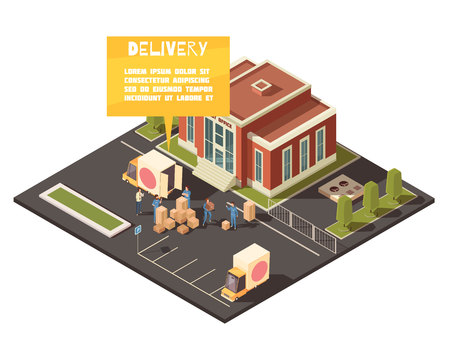 Isometric logistic delivery conceptual composition with images of post office yard with people hand-loading parcels vector illustration
