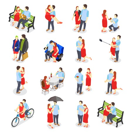 Dating isometric icons with adult couples on date in restaurant walking in park sitting on bench dancing isolated vector illustration