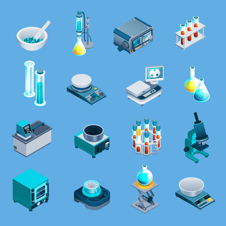 Laboratory equipment including beakers, scales, burner, scientific devices isometric icons isolated on blue background vector illustration