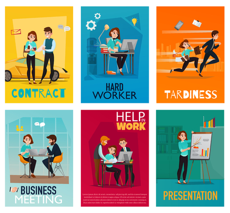 Multitasking cards set with young woman performing different business tasks together with her employees flat vector illustration
