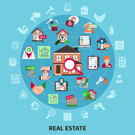 Real estate round composition with isolated icon set combined in big circle vector illustration