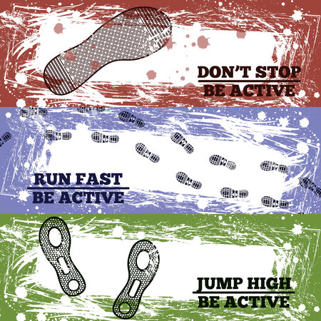 Sport shoes footprints horizontal banners with black highly detailed print and sport slogans on colored grunge background vector illustration