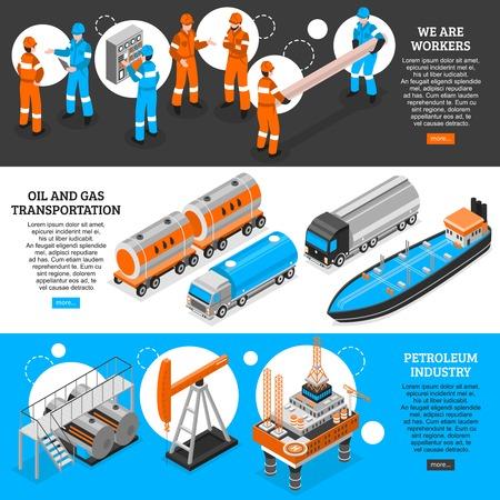 Isometrische horizontale Fahnen des Ölgases 3 stellten Webseitendesign mit Erdölindustriearbeitskrafttransportinformations-Vektorillustration ein
