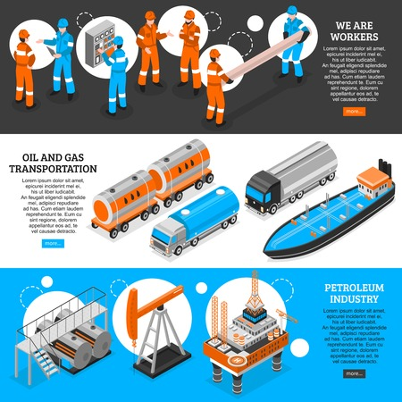 Oil gas 3 isometric horizontal banners set webpage design with petroleum industry workers transportation information vector illustration Banco de Imagens - 95445860