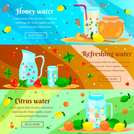 Detox honey citrus water cleansing body burning fat for rapid weight loss flat horizontal banners set vector illustration Illustration