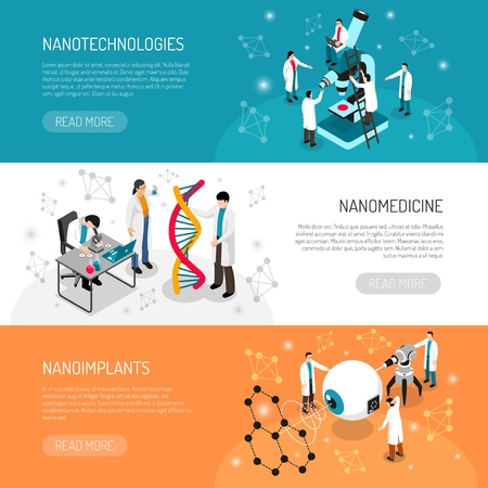 Nanotechnologies set of banners with scientific research  イラスト・ベクター素材
