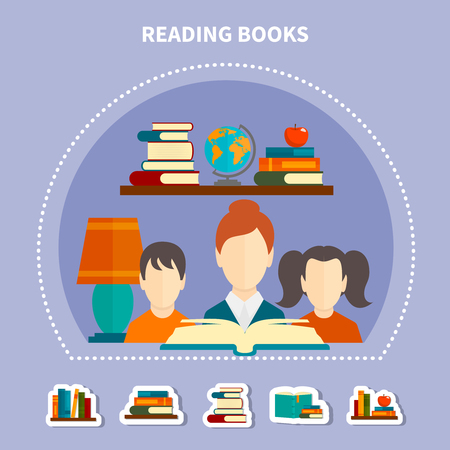 Educational reading composition on lilac background with adult and kids, stacks of books vector illustration Illustration