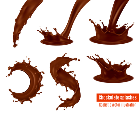 Delicious dark chocolate drink and frosting splashes realistic images set for confectionery desserts advertisement isolated vector illustration