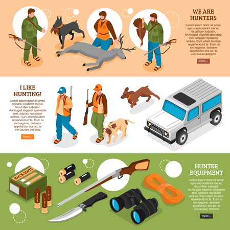 Hunting information 3 isometric horizontal banners webpage design with gear equipment dogs killed deer isolated vector illustration Illustration