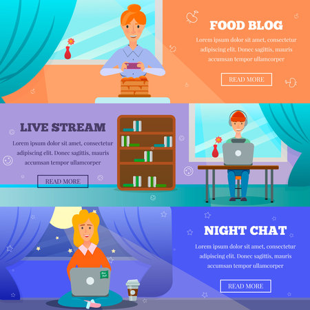 Popular bloggers characters posts topics on 3 horizontal banners set with livestream, night chat, cooking vector illustration Illustration