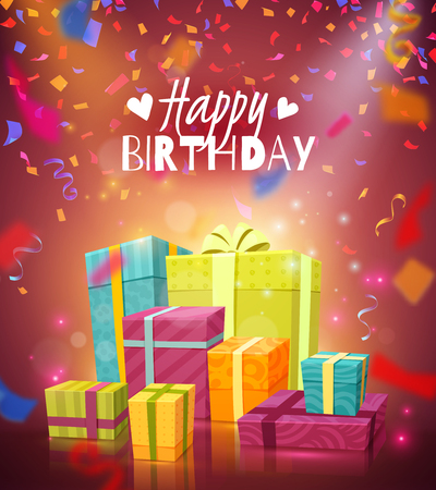 Happy birthday colorful festive background with flying shredded paper confetti and gift boxes in elegant packaging realistic vector illustration