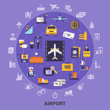 Colorful flat concept with various airport icons planes waiting room steward runway passengers custom control vector illustration