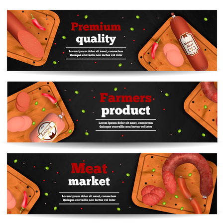 Meat market horizontal banners with realistic icons advertising premium quality farmers product vector illustration