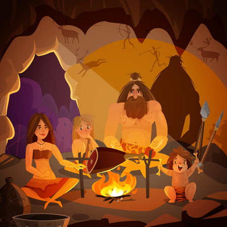 Cartoon poster with caveman family dressed in animal pelt cooking meat on campfire in cave vector illustration