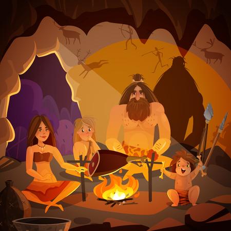 Il manifesto del fumetto con la famiglia del cavernicolo si è vestito nella pelle animale che cucina la carne sul fuoco nell'illustrazione di vettore della caverna Vettoriali