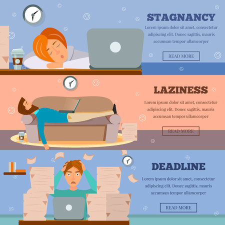 Procrastination stagnation laziness control and deadlines stress managing 3 cartoon horizontal banners web page design isolated vector illustration