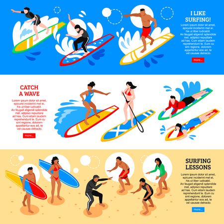 Water sport horizontal banners with catch waves and surfing  lessons isometric compositions vector illustration