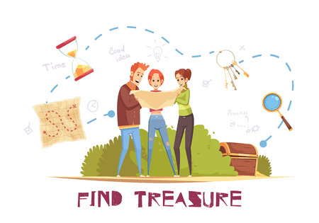 Find treasure cartoon vector illustration