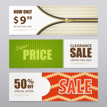Knitted fabric clearance sale discount prices with 3  patterns texture samples realistic horizontal banners isolated vector illustration Ilustracja