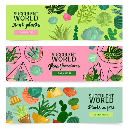 Succulents horizontal banners set with succulent world symbols flat isolated vector illustration