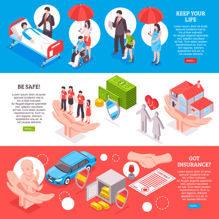 Insurance horizontal banners on healthcare banking property keeping life contract themes isometric vector illustration