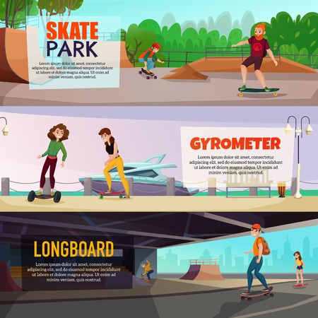 Skateboarding horizontal banners with teen characters riding gyrometer and skateboard in skate park and city streets vector illustration