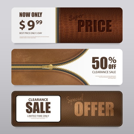 Artificial leather clearance sale offer prices with 3 qualities texture samples of realistic horizontal banners isolated vector illustration