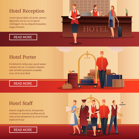 Hotel personnel set of flat horizontal banners with administrator at reception, porter with baggage isolated vector illustration
