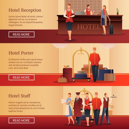 Personnel de l'hôtel ensemble de bannières horizontales plates avec administrateur à la réception, porteur avec illustration vectorielle de bagages isolés