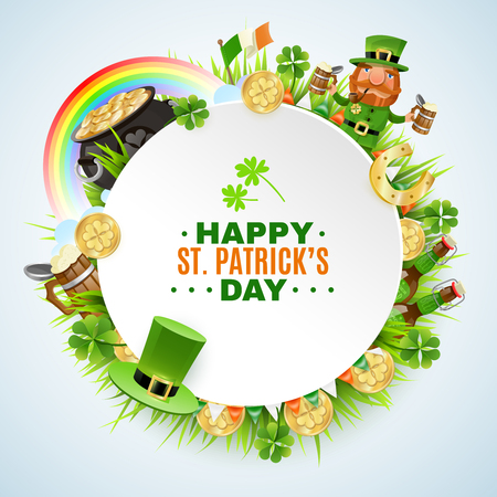 Saint patricks day design with round frame with greeting, golden coins, leprechaun, beer, rainbow, clover and grass vector illustration