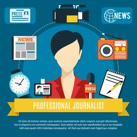 Professional journalist background with news anchorwoman character press microphone radio receiver flat icons vector illustration