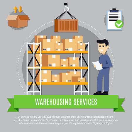Warehouse services composition with worker during inventory process near shelves with boxes on grey background vector illustration
