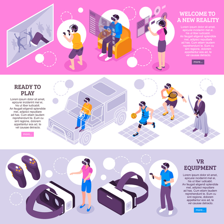 Virtual reality vr simulators portable gadgets headsets displays equipment 3 isometric horizontal banners webpage design vector illustration
