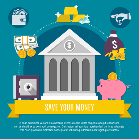 Money flat flyer with save your money description on the yellow ribbon and bank vector illustration