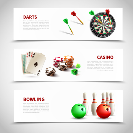 Three horizontal games realistic composition set with darts casino and bowling headlines vector illustration