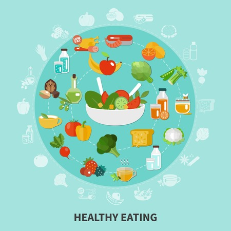 Healthy eating composition in large circle composed of flat icon of set of fruits and vegetables vector illustration