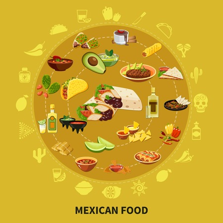 Mexican food round composition on sand background with traditional dishes, drinks and ingredients vector illustration