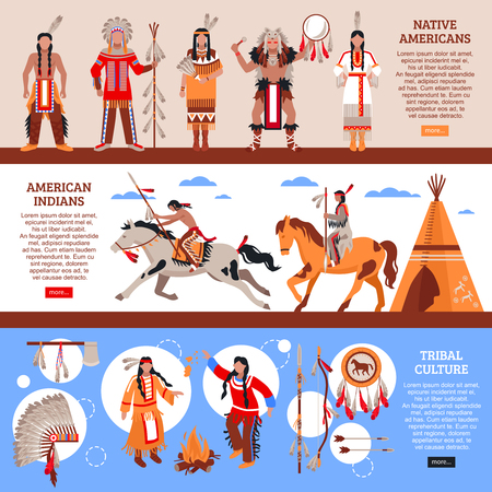 Native americans horizontal banners with indians in national clothes, wigwam and element of tribal culture cartoon vector illustration