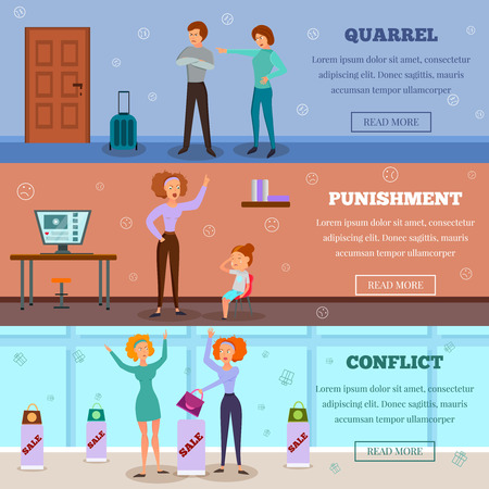 Angry characters quarreling and punishing child in conflict situation. 3 horizontal cartoon banners of webpage design isolated vector illustration