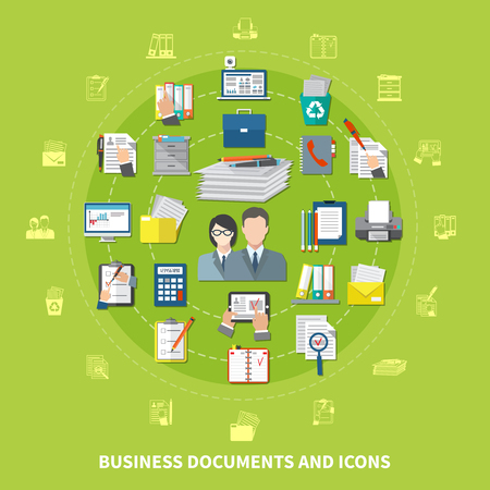Business items and icon set with isolated icons combined in round composition vector illustration