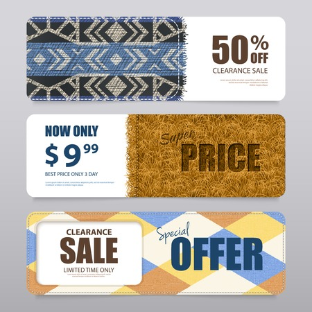Carpet rugs sale banners set isolated vector illustration