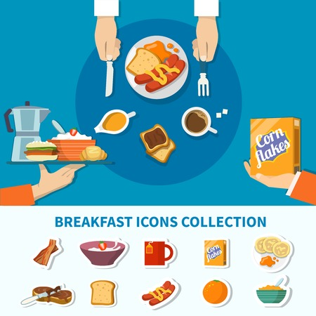Food and drinks for breakfast flat colorful icons collection with flakes coffee toast bacon porridge orange isolated vector illustration