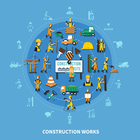 Construction worker colored composition with isolated icon set combined in big flat style round vector illustration